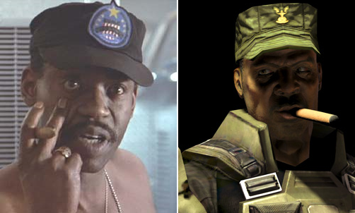 Sergeant Apone from Aliens and Halo's Sergeant Johnson